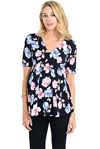 Hello MIZ Womens Floral and Polka Dot Pleated Peplum V Neck Maternity Top