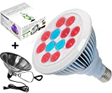 LED Grow Light Bulb With FREE Clamp Reflector By ProLedGrow – 12 LEDS In Blue & Red Light – 12W Hydroponics Lights- Full Spectrum E27 Grow Listing System For Indoor Garden, Plants, Vegetables, Flowers