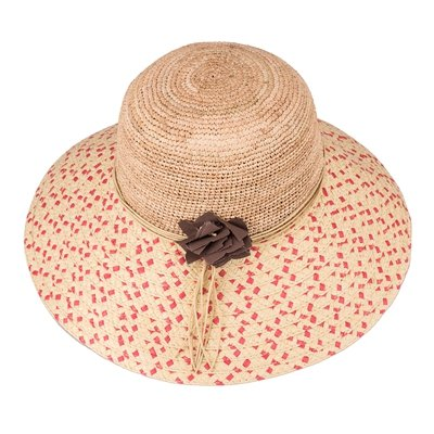 Aabigale beautiful Straw Hat Summer Hats for Women Nice Wide Brim Floppy Hats Female Beach Hat with Floral Hot Pink Dot