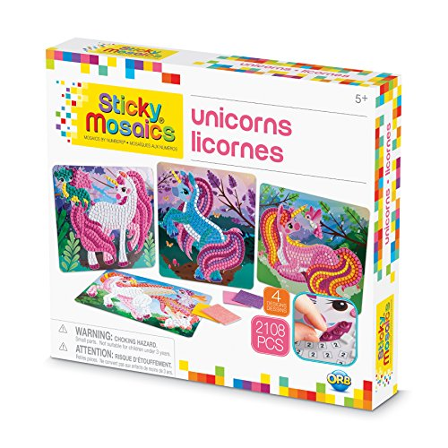 The Orb Factory Sticky Mosaics Unicorns Arts & Crafts, Pink/Teal/Blue/Purple, 12