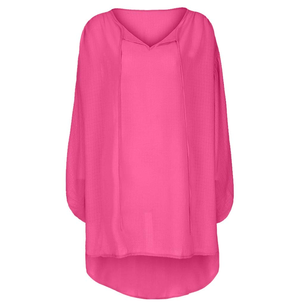 Cianjue Women's Plus Size Tops Loose Solid Long Sleeve V-Neck Pullover Tops Shirt Hot Pink