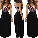Aecibzo Women Sexy Sleeveless Boho Long Maxi Evening Party Beach Dress (L)