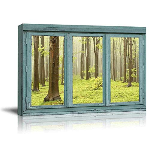 Vintage Teal Window Looking Out Into a Green Foggy Forest