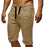 PASATO Clearance!Men Trousers Sweatpants Slacks Elastic Waist Sportwear Baggy, Casual Pants Shorts(Khaki, XL)