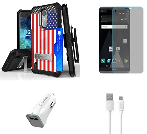 Flag Shield Protector Case - LG Aristo - Bundle with [American Flag] Tri-Shield [Military Grade] Holster Case, Atom LED, Tempered Glass Screen Protector and 18W [Qualcomm Quick Charge 2.0] Car Charger with Micro USB Cable