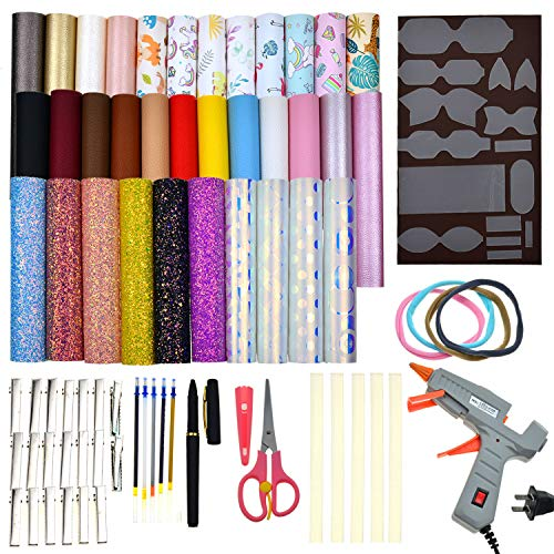 Halloween Hair Bow Diy (Faux Leather Bow Template Making Kit Include 5 Kinds of Faux Leather Sheets,Hair Clips,Scissor,Bow Template,Hot Melt Glue Gun with Glue Stick, Hair Ties, Water-Soluble)