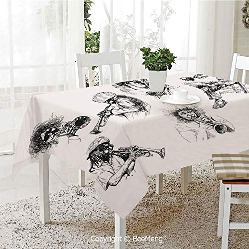 (BeeMeng Large Family Picnic Tablecloth,Easy to Carry Outdoors,Jazz Music Decor,Sketch Image of Jazz Players Playing Instruments Trumpet and Saxophone Music Decor,Black White,59 x 104)