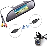 E-Kylin Wireless Car Auto 4.3 inch LCD TFT Rear View Mirror Mount Monitor + Universal Screw Mount Backup Camera Reverse Parking System IR Night Vision