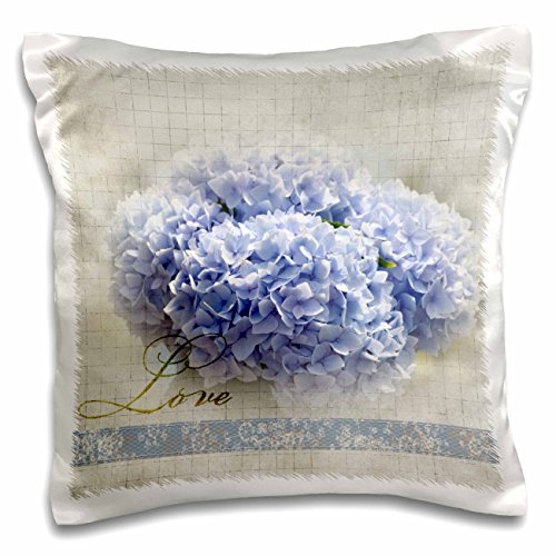 3dRose pc_56329_1 Romantic Love Blue Hydrangea Flowers-Floral Photography-Wedding-Pillow Case, 16 by 16