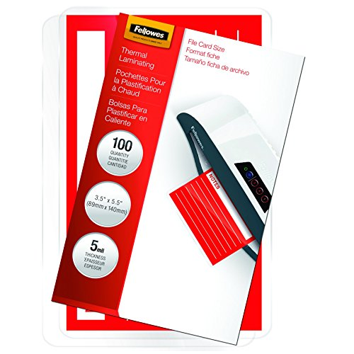 Fellowes Laminating Pouches, Thermal, File Card, 5 Mil, 100