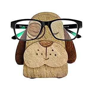 Black Friday Handmade Wooden Spectacle Holder Eyeglass Holder Dog Display Stand and Piggy Bank with Free Bookmark Home Office Desk Decor Accessories