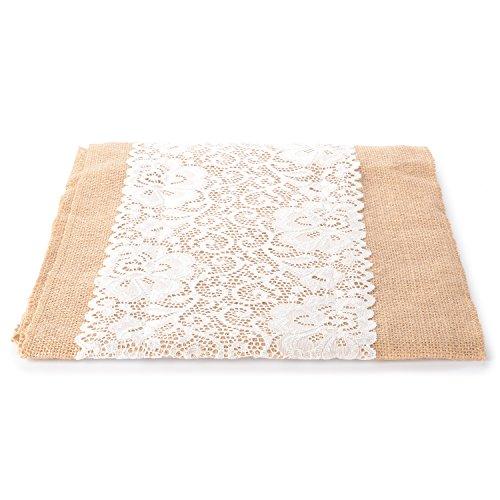 - Advantez Jute Burlap Lace Roll Hessian Table Runner Vintage for Home Wedding Christmas Festival Event Table Decoration 12