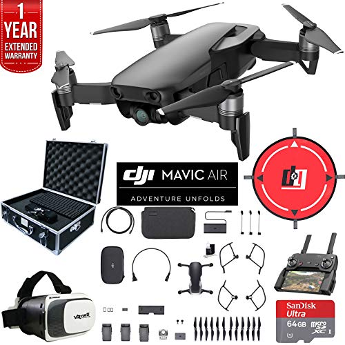 DJI Mavic Air Quadcopter Drone Onyx Black Fly More Combo Bundle with 2X 32GB Memory Card, Drone Landing Pad, VR Viewer, Equipment Case, Cleaning Kit and 1 Year Extended Warranty