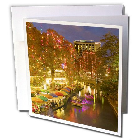 3dRose United States, Texas, San Antonio Riverwalk Area / Evening - Walter Bibikow - Greeting Cards, 6 x 6 inches, set of 6 (gc_94614_1)