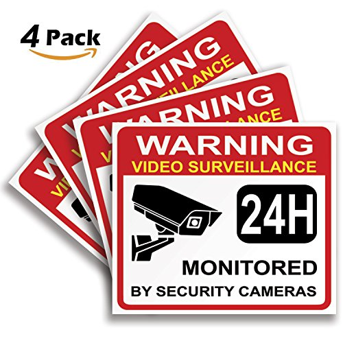 """Video Surveillance Warning Sign Sticker - Decal, 4x Pack, 7""""x6"""" in, CCTV Security Premium Self-Adhesive Vinyl, Laminated for Ultimate UV Protection, Bubble Free Application."""