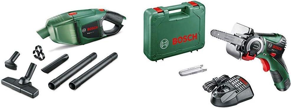 Bosch Aspirador manual a batería EasyVac 12 + Bosch EasyCut 12 - Sierra de cadena a bateria de 12 V y 2,5Ah, con tecnología NanoBlade