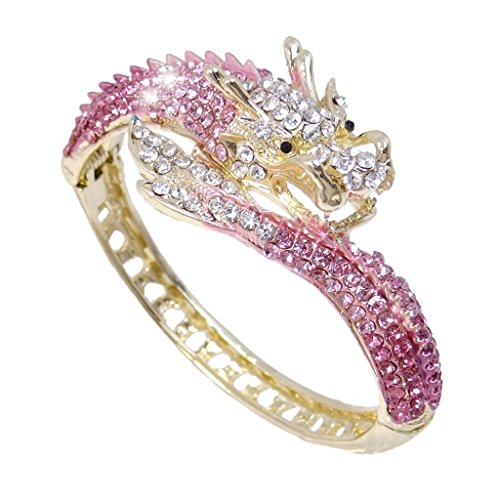 EVER FAITH Women's Austrian Crystal Cool Animal Fly Dragon Bangle Bracelet Pink Gold-Tone (Pink Austrian Crystal Bracelet)