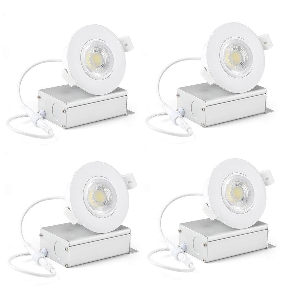 (4 Pack) NickLED 8W 3 inches led Gimbal can Lights-Directional Adjustable Dimmable LED Retrofit Recessed Lighting Fixture(65W Replacement) 5000K-Day Light, 800Lm -ETL Energy Star Approved