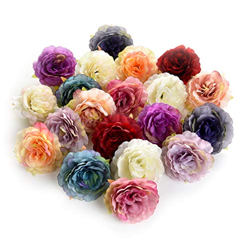 Flower heads in bulk wholesale for Crafts Silk Artificial Peony Flower Head for Garden Wedding Decoration DIY Brooch Fake Flowers Party Birthday Home Decor 20pcs/lot 6cm (Colorful) from Flower heads in bulk wholesale