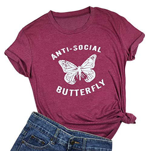KimSoong Anti-Social Butterfly Funny T-Shirt Womens Letter Printed Short Sleeve Tops Tee (XX-Large)