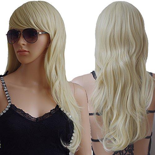 S-noilite Big Wave Cosplay Wig,Long Synthetic Hair Costume Full Head Wigs Heat Resistant (Bleach blonde)