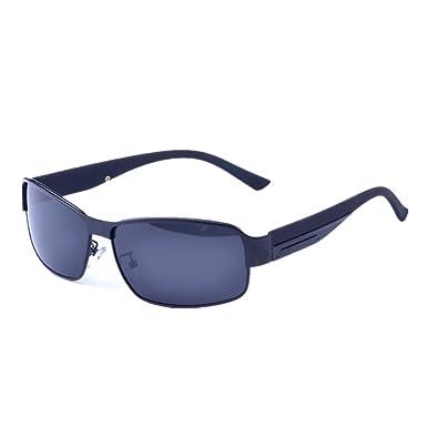 5875bb7078 A-Roval Men Polarized Rectangular Large Driving Touring Metal Sunglasses -Black