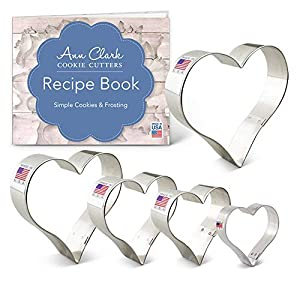 Ann Clark Cookie Cutters 5-Piece Hearts Cookie Cutter Set with Recipe Booklet, Hearts 4.25 in, 4 in, 3.5 in, 3 in, and 2.25 in.