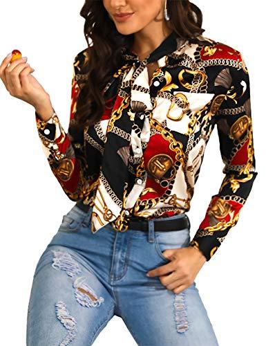 Senggeruida Women Fashion Tied Neck Chain Print Casual Shirt XL Multicolor