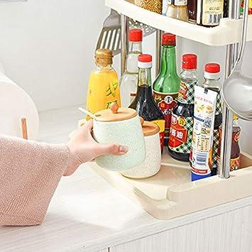 YIZH Organizador Cocina Frascos Cromo Organizador Estante cocinas rinconera estantes Condimentos Deal Accesorio de Cocina para Especias//Hierbas Jabones Botelas