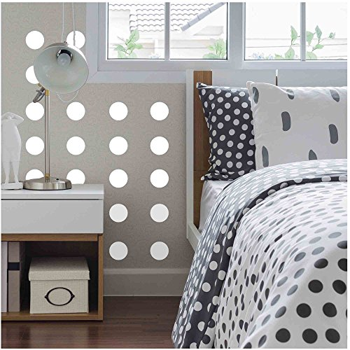 """Owl Hills Wall Stickers: Polka Dots, White, 4"""", 50 Count"""