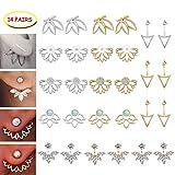 14 Pairs Ear Jackets Lotus Flower Earrings Jackets Simple Chic Ear Stud Earrings Set for Women Girls