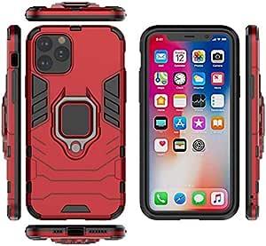 ناعم إلى iPhone 11 Pro Max هاتف حالة صلب PC TPU صدمات خلفية تغطية حامل حلقة هاتف حالة أحمر