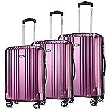 Luggage Set Expandable Premium Carbon Fiber Suitcase 3 Piece Set TSA Lightweight Spinner Carry On Luggage VIOLET