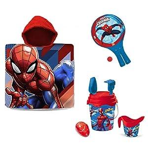Kit Mare Spiderman Poncho Mare + Secchiello Set Spiaggia + Racchette Spiaggia racchettoni Bambino Giochi Spiaggia Spider… 1 spesavip