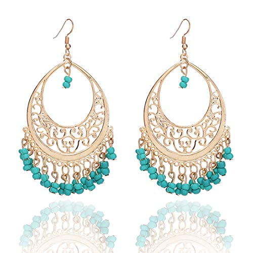 Bohemian Chandelier Coin Sequins Dangle Drop Earrings Ethnic Gypsy Beads Tassel Hoops with Disc Charms Boho Ear Jewelry Women (green beads) ()