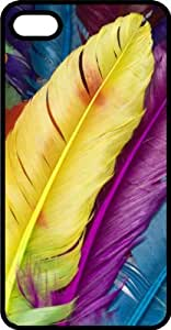 Colorful Long Feathers Black Plastic Case for Apple iPhone 4 or iPhone 4s