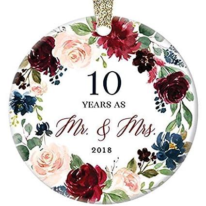10 Year Wedding Anniversary.Amazon Com 10th Wedding Anniversary 2018 Christmas Ornament Gift 10