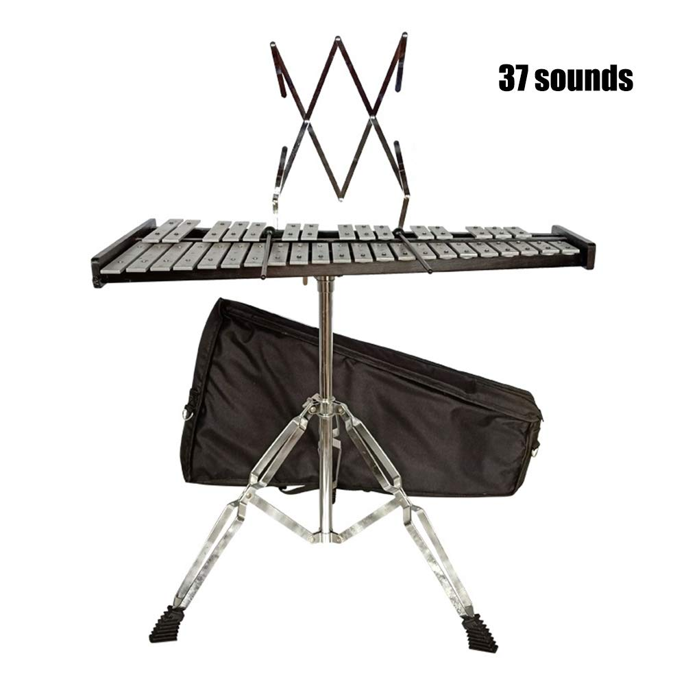 Percussion Glockenspiel Xylophone Bell Kit Adjustable Height Stand Bell Mallets Carrying Bag,37sounds by HBIAO
