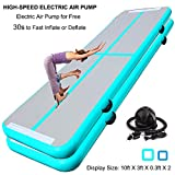 SUDOO 20ft Air Track Floor Tumbling Gym Mat | Airtrack Flooring Mat | Inflatable Gymnastics Mat | Landing Mat | Exercise Mat | Yoga Martial Art Mat for Home Outdoor Training w/Electric Air Pump