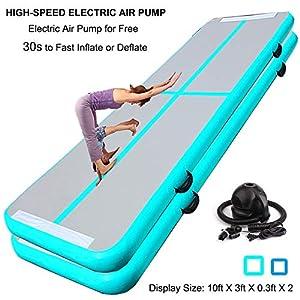 10ft 20ft Air Track Floor Tumbling Gym Mat | Airtrack Fitness Flooring Mat | Inflatable Gymnastics Mat | Landing Mat | Exercise Mat | Yoga Martial Art Mat for Home Outdoor Training w/Electric Air Pump