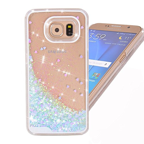 Samsung Galaxy S7 Edge case,Crosstree Liquid, Appmax Cool Quicksand Moving Stars Bling Glitter Floating Dynamic Flowing Case Liquid Cover for galaxy s7 edge. (Heart Blue)