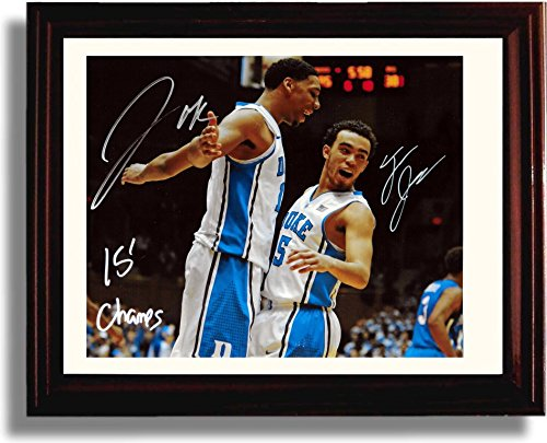 "Framed Duke Blue Devils ""2015 Champs"" Tyus Jones, Jahlil Okafor Autograph Replica Print"
