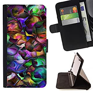 For HTC One M7 Neon Colors Random Modern Art Wallpaper Beautiful Print Wallet Leather Case Cover With Credit Card Slots And Stand Function