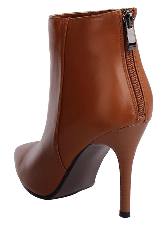 Guoar High Heels Große Größe Damenstiefel Spitze Zehen Reißverschluss  Knöchelstiefel Ballsaal Party Braun EU39: Amazon.de: Schuhe & Handtaschen