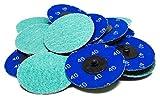3'' Roloc Green Zirconia Quick Change Sanding Discs 36 Grit - 25 Pack