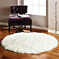 Fur Accents Round Bearskin Rug / Fake Polar Bear / Faux Sheepskin / 5 Round