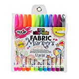 Tulip 31780 Permanent Nontoxic Fabric Markers Neon 12 Pack - Fine Bullet Tip, Child Safe, Minimal Bleed & Fast Drying - Premium Quality for T-shirts, Clothes, Shoes, Bags & Other Fabric Materials