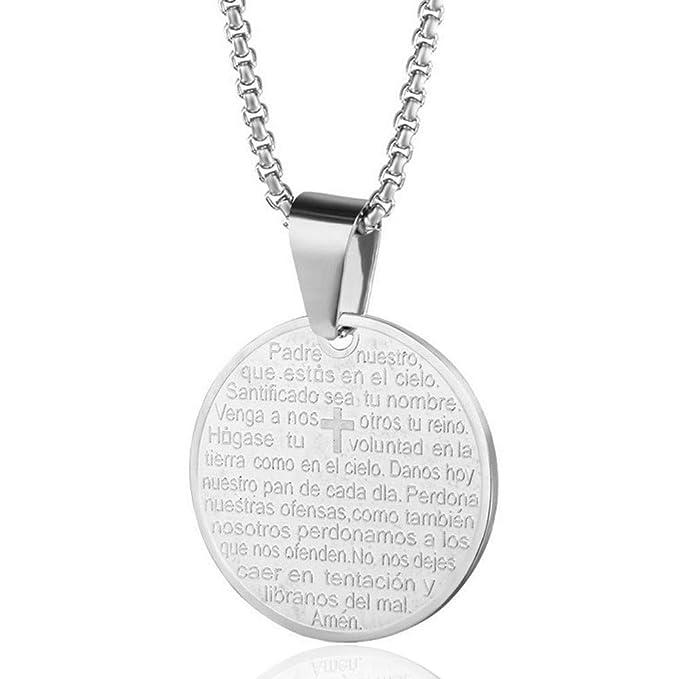 Amazon com : Reizteko Lord's Prayer Cross Round Medal