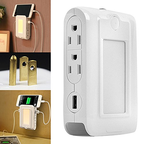 (XY ZONE Wall Mount Charger, Dusk to Dawn Sensor LED Night Light with 4 AC Outlet, Dual USB Charging Ports and Slot Phone Holder)