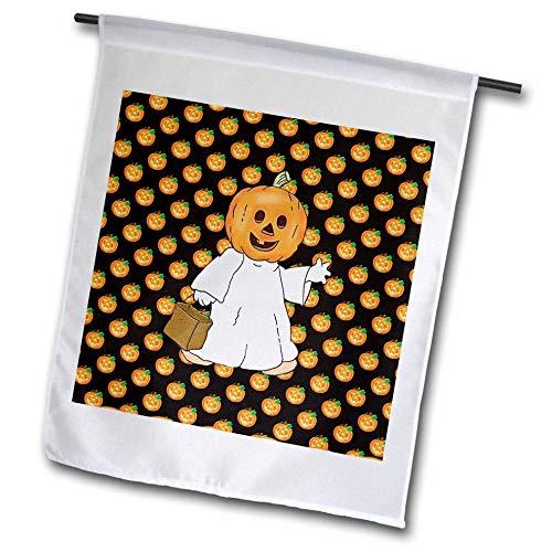 3dRose Beverly Turner Halloween Design - Pumpkin Head and White Sheet, Trick or Treat Bag, Pumpkin Design - 18 x 27 inch Garden Flag (Halloween Pumpkin Head Drawings)